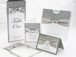 silver wedding invitations silver glitter wedding stationery set by sweetheart stationery