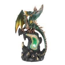 Dragon Bookends Metallic Winged Jade Fire Geode Dragon Lights Up 12 95 Gifts