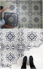 Bathroom Wall Stencil Ideas Best 25 Stenciled Floor Ideas On Pinterest Painting Tile