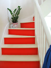 red and white painted stairs so inspired to redo my staircase now