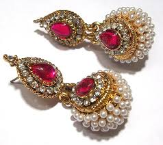 jhumka earrings online buy pink pearl jhumka earring online