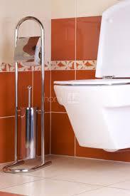 Orange Bathroom Accessories Uk by Free Standing Toilet Paper Roll Holder And Brush Bathroom Set