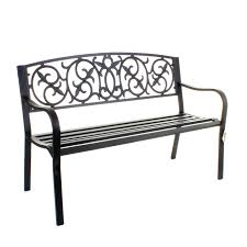 garden metal bench 3 seater cast iron backrest outdoor furniture