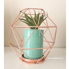 New Years Decorations Kmart by Kmart Australia Copper Geo Candle Holder With Turquoise Plant Pot