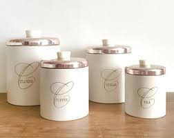 copper canisters kitchen copper canister etsy