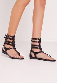 strappy ankle flat gladiator sandals black missguided