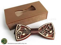 wood bow tie wooden musical bowtie treble clef notes
