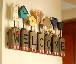 wooden words welcome wall stickers home decoration