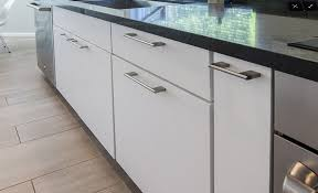 in stock rta cabinets white lacquer slab showroom kitchen