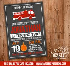 printable firetruck chalkboard birthday invitation fire truck