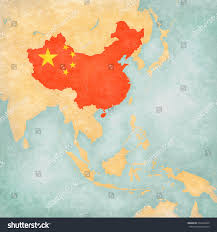 Chineses Flag China Chinese Flag On Map East Stock Illustration 604209545