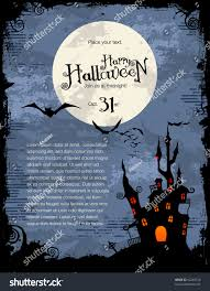 vintage moon pumpkin halloween background grungy halloween background haunted house bats stock vector