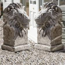 lions statues pair of large gondwana lion statues garden ornaments