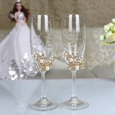 wedding glasses 1 set personalized wedding set chagne glasses diamond