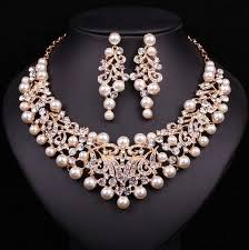 bridal necklace set pearl images Prom choker necklace new fashion pearl statement bridal jewelry jpg