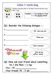 english teaching worksheets like ing