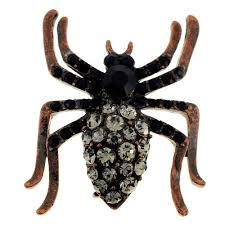 vintage style black spider crystal pin brooch fantasyard costume