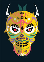 traditional design colorful mask with traditional design on dark background free vector