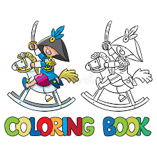 brave boy wooden horse coloring book stock vector image