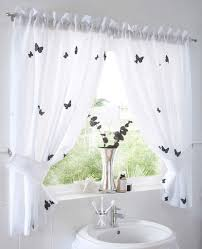 Butterfly Kitchen Curtains White Cute Butterfly Curtain With Ruffled Decor Using Undermounted