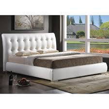 Cream Tufted Bed Bedroom White Bed Frame With Headboard Be Equipped With Antique