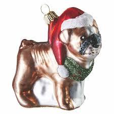 bulldog handmade glass ornament