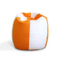 orange white bean bag sofa