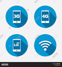 mobile telecommunications icons 3g 4g and lte stock vector