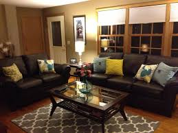 Living Room Ideas With Black Leather Sofa Brown Leather Sofa And Colorful Pillows Funky Living Room Decor