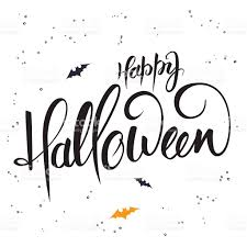happy halloween vector lettering halloween greetings text happy halloween with bat stock