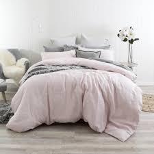 washed linen light pink quilt cover set pillow talk