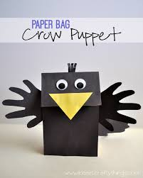 crow puppet craft bag lunches puppet and crows