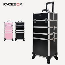 makeup artist equipment aluminum facebox 4 in 1 professional trolley makeup box with