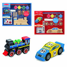 amazon com melissa u0026 doug decorate your own wooden train craft