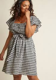 dress pic flutter sleeve cotton a line dress with pockets in gingham modcloth