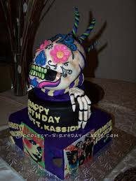 skull cake with 70 u0027s zombie style band covers