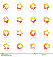 five pointed stars vector logo template set royalty free stock
