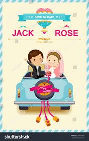 Wedding Invitation Card Template Cute Bride Groom Wedding Car Wedding Stock Vector 147047930