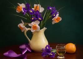 Vase With Irises Flower Still Life Drink Photography Harmony Ribbon Fruit Flower