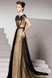 prom dresses online gold round neck short sleeves empire waist