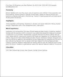 Examples Of Strong Resumes by Professional Kitchen Assistant Templates To Showcase Your Talent