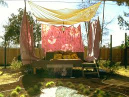 cool backyard with diy awning canopy also wood flooring