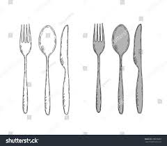Kitchen Forks And Knives Vector Illustration Spoon Fork Knife Easy Change Stock Vector