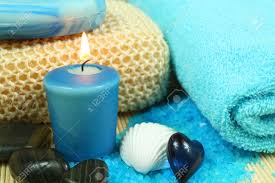 spa soothe in blue color wellness therapy with pebbles shell
