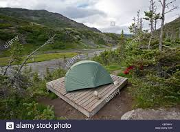 tent on a wooden platform happy camp chilkoot trail british