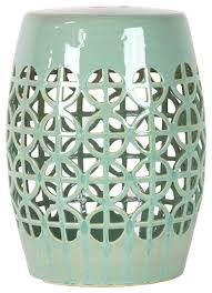 Mint Green Home Decor Cutwork Mint Oval Unique Stool Ceramic Glaze Finish Home Decor