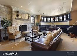 basement luxury home stone fireplace stock photo 60780337