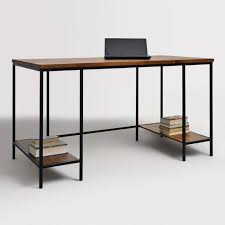 extra long desk table wood and metal williard extra long desk world market