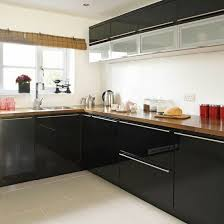 black gloss kitchen ideas blossy black cabinets with timber benchtops again i think this
