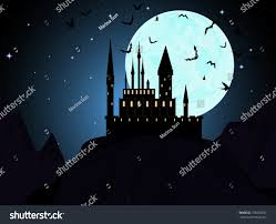 blue halloween background halloween background vampire castle mountains bats stock vector